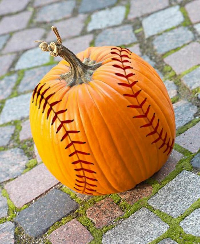 Baseball-Kürbis-bemalen-originelle-Idee-Dekoration