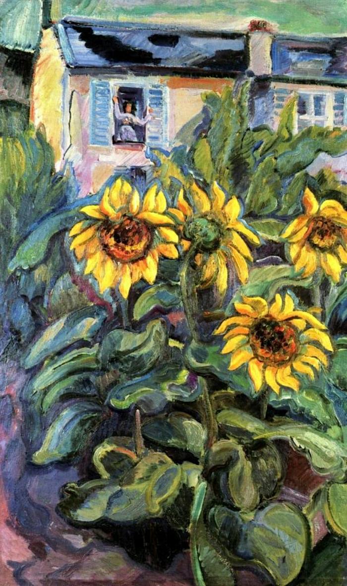 Bild-Stillleben-Haus-Mensch-Sonnenblumen