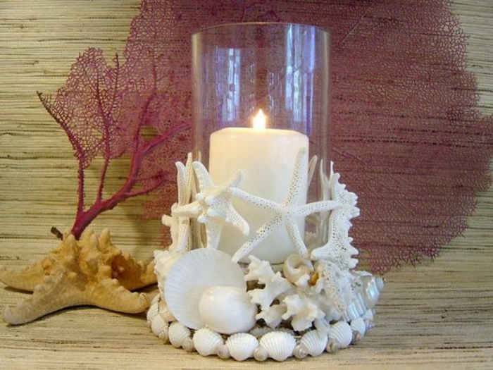 Deko-mit-Musheln-für-Kerzen