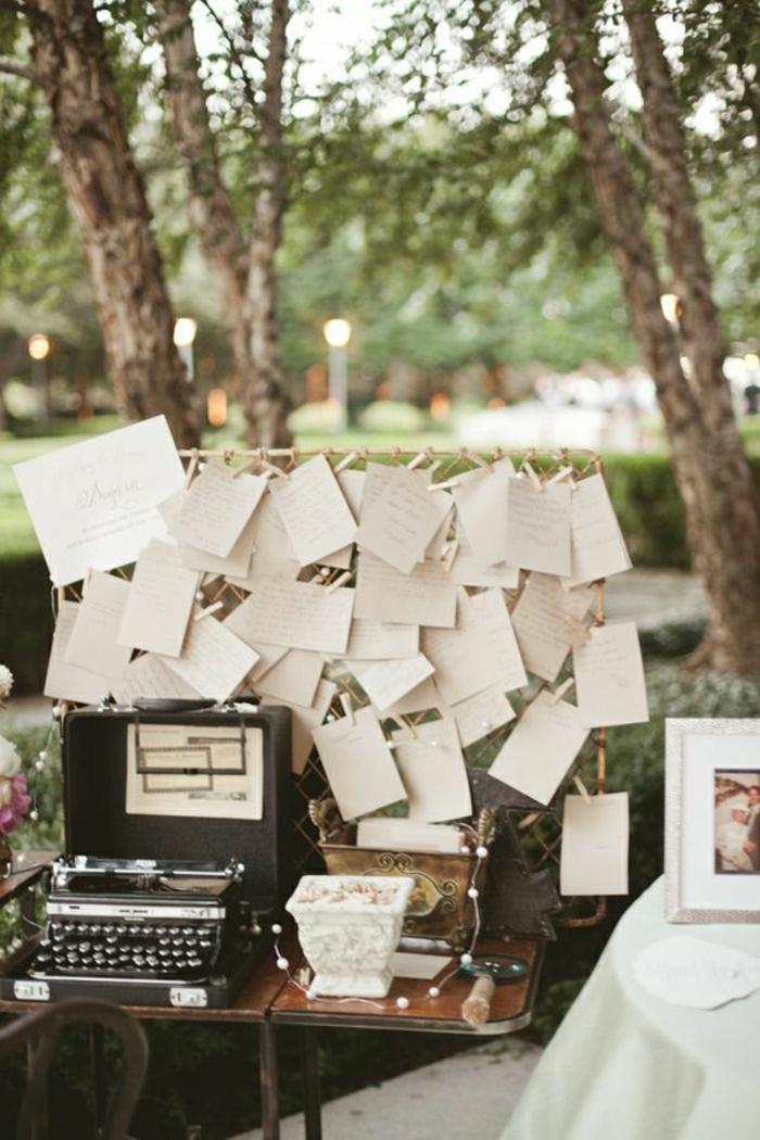 Garten-Hochzeit-vintage-Deko-Schreibmaschine-Blätter-Grüße