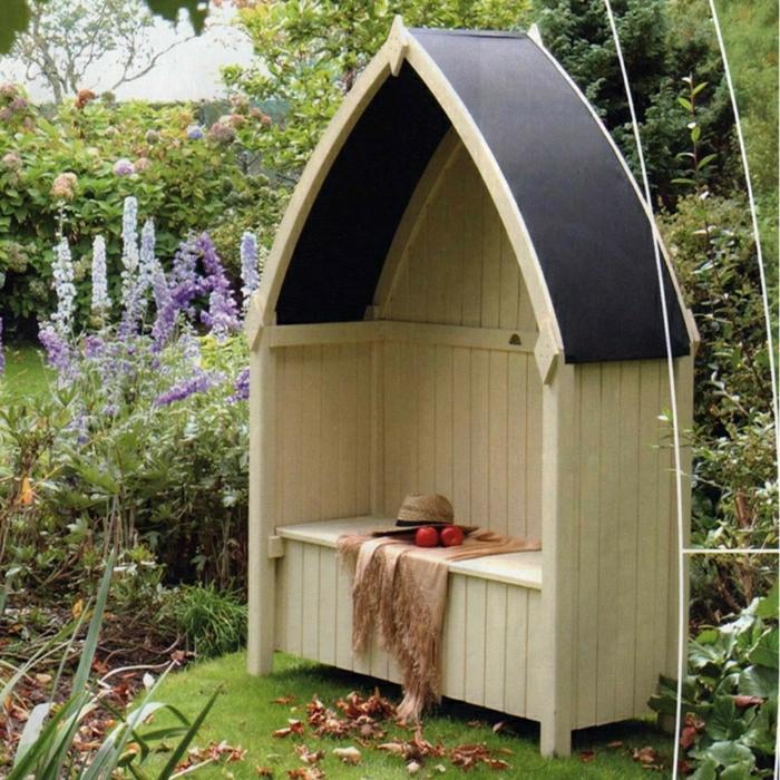 super exterieurideen f r gartenbank mit dach. Black Bedroom Furniture Sets. Home Design Ideas
