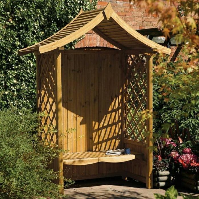Garten-Laube-Holz-Bank-Dach-Gitterwände