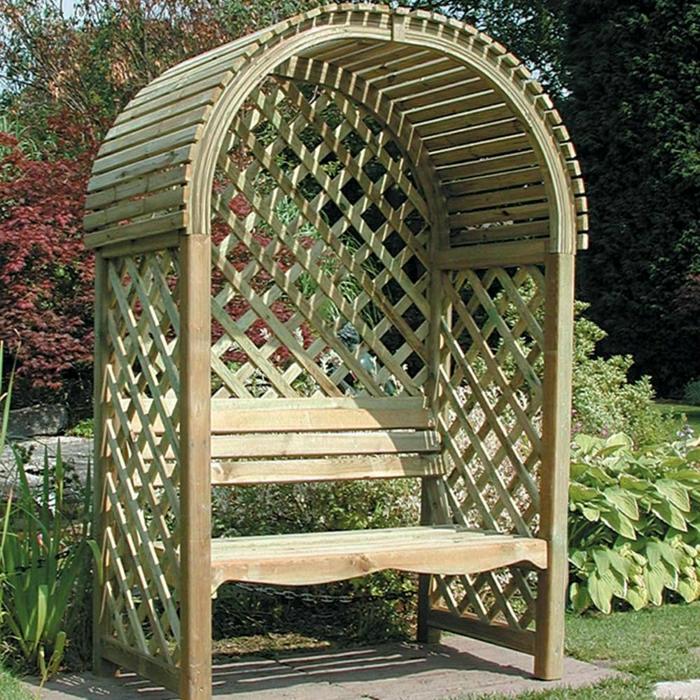 Garten-Laube-Holz-Bank-zwei-Sitze-Dach-Gitterwände