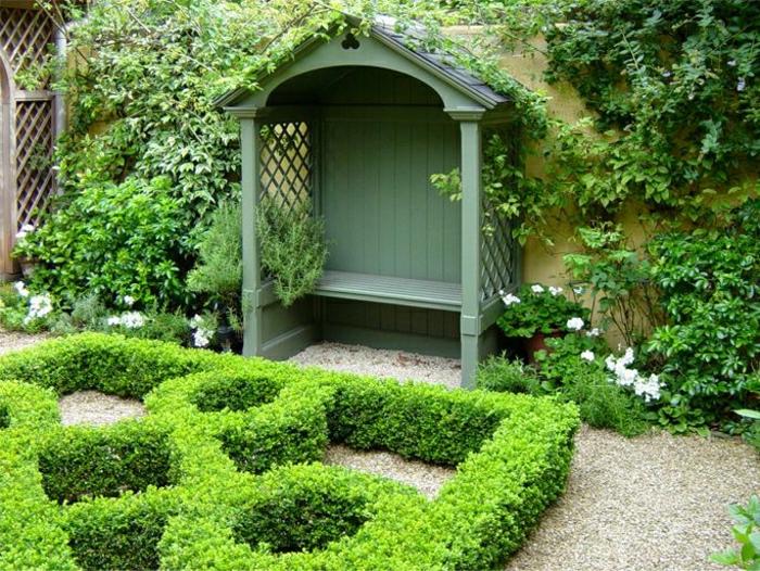 Garten-grüne-Laube-Bank-Sitze-Dach-Blumen-Grün