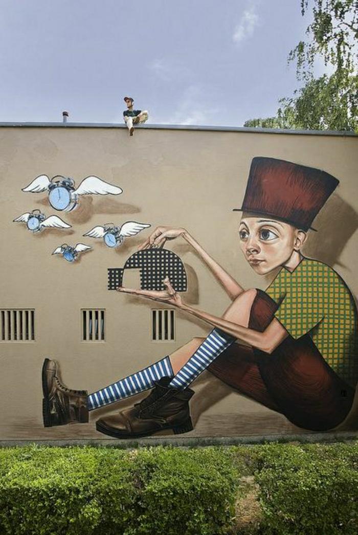Gebäude-Wand-Graffiti-Zeit-Fänger-Käfig-fliegende-Uhren