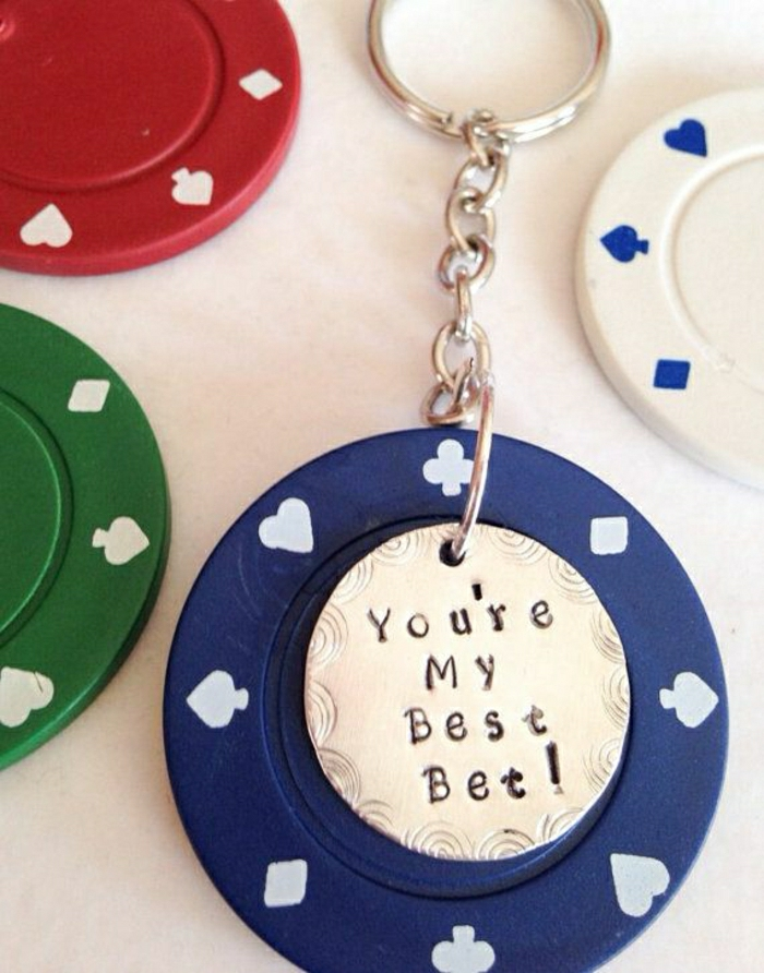Geschenk-Poker-Chip-Schlüsselanhänger