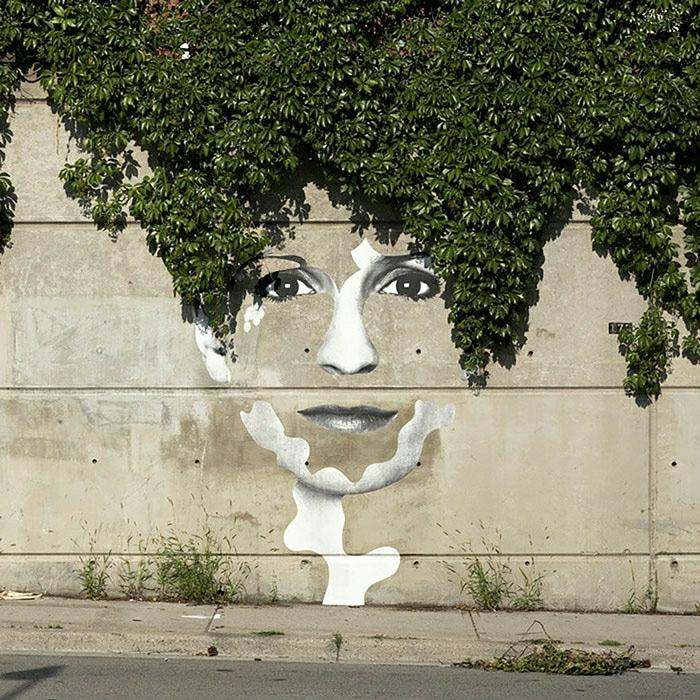 Graffiti-Art-Frau-Gesicht-Haare-Grün