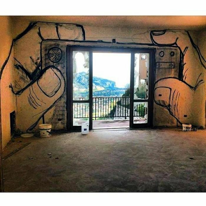 Graffiti-Bilder-Wohnung-Terasse-Kamera-Zeichnung-Hände-Ansicht