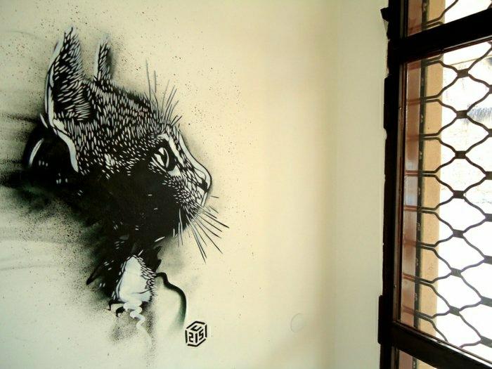 Graffiti-Katze-Fenster-Gitter