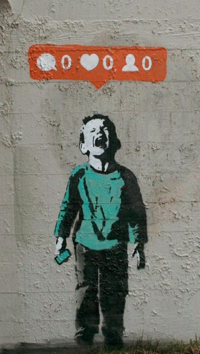 Graffiti-Paris-Straße-Art-Junge-soziales-Thema-Botschaft