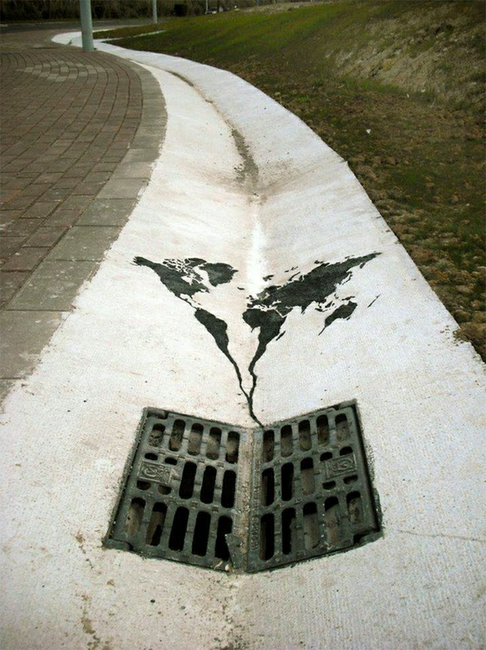 Graffiti-Straße-art-Weltkarte-weiße-Farbe-Schacht