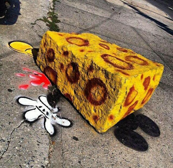 Graffiti-lustige-Idee-Käse-Stein-Mickey-Mouse-Zeichnung