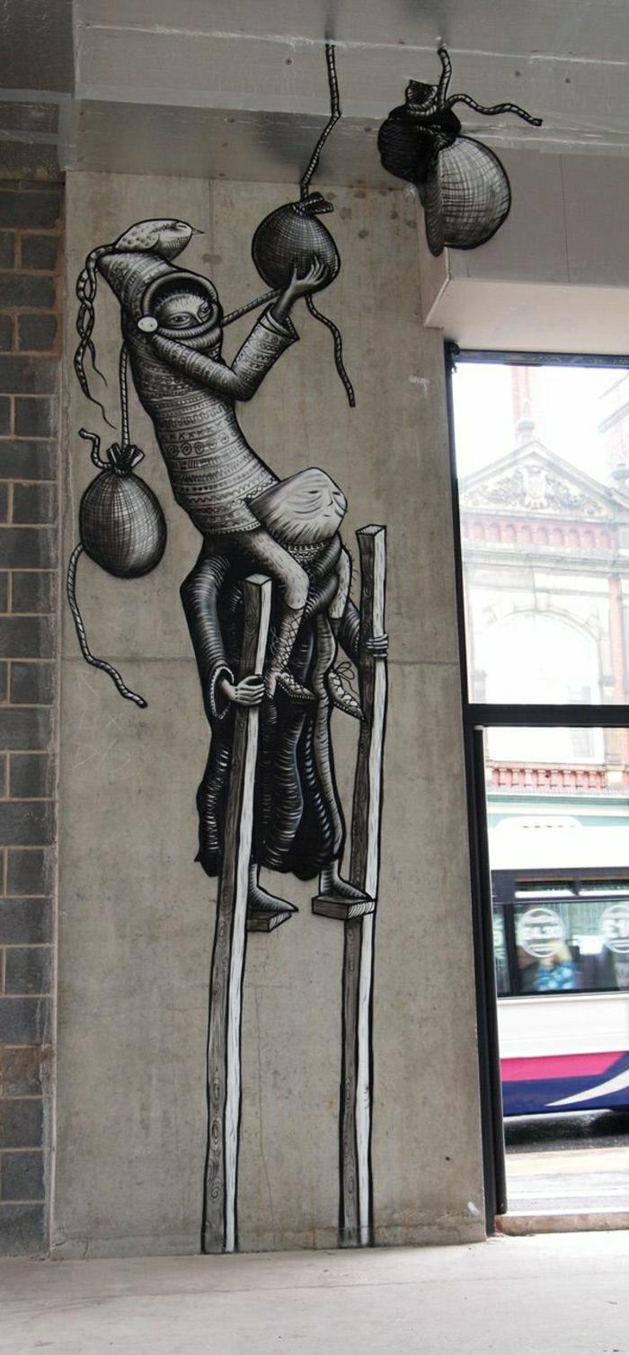 Graffiti-schwarz-weiße-Tönungen-Lebewesen-Beutel-Vogel-Stelzen-mystisch