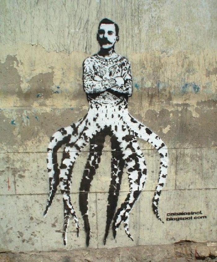 Graffiti-steet-art-Freddie-Mercury-Oktopode-lustig-Scherz
