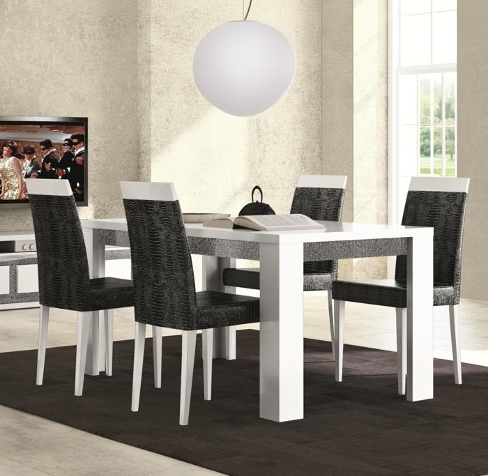 Hängeleuchten-für-Esszimmer-weiß-Kugel-über-viereckig-Tisch