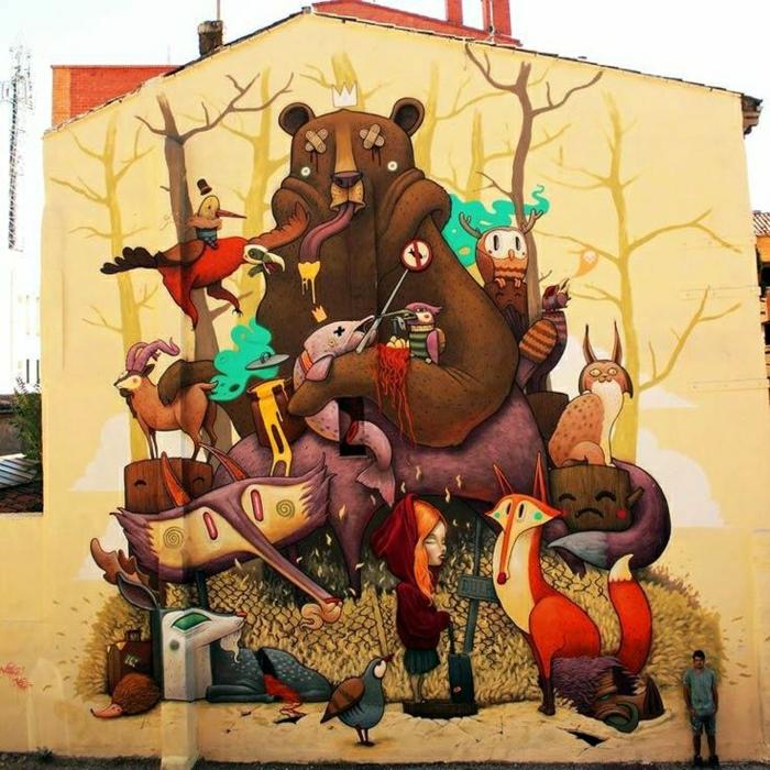 Haus-Wand-Graffiti-Waldtiere-bunte-Zeichnungen