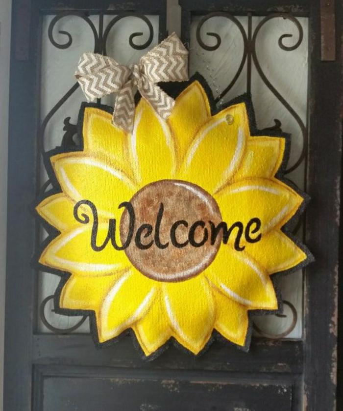 Haustür-Dekoration-selber-machen-leicht-einfach-Sonnenblume ...