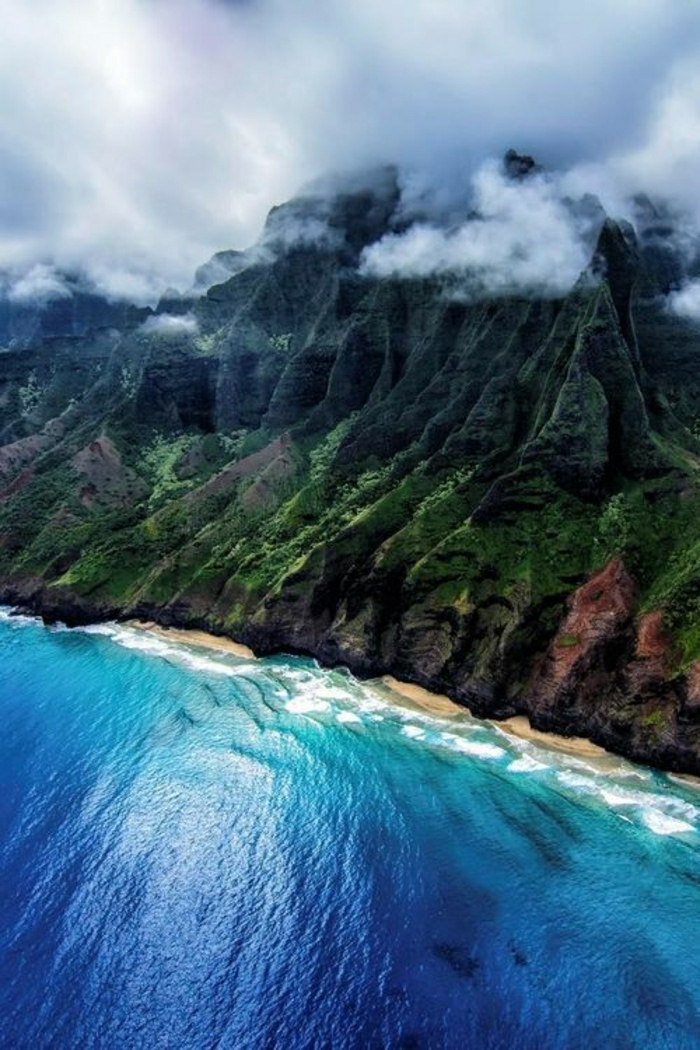 Hawaii-Inseln-Na-Pali-Nebel-Gebirge-Kristallwasser