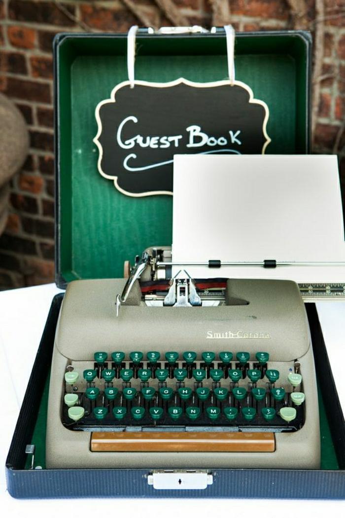 Hochzeitsdekoration-elektrische-Schreibmaschine-grün