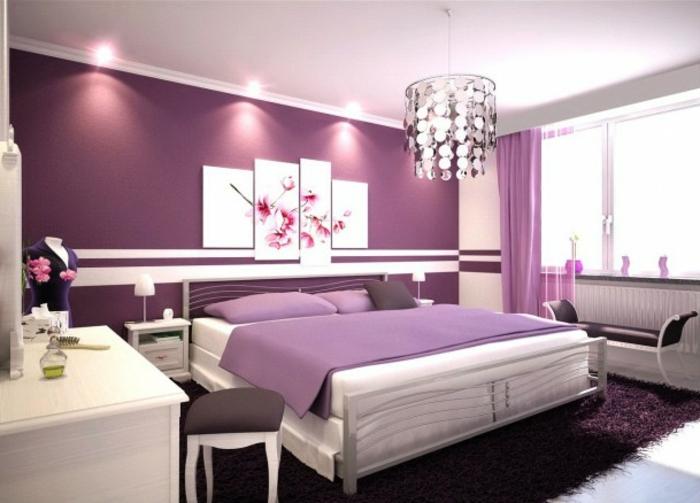 Jügenzimmer-für-Mädchen-Hängeleuchte-lila-wand-biilder