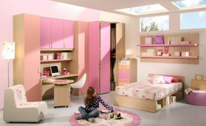 Jügenzimmer-für-Mädchen-Stehlampe-regale