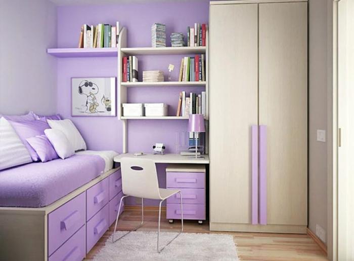 Jügenzimmer-für-Mädchen-lila-Regale