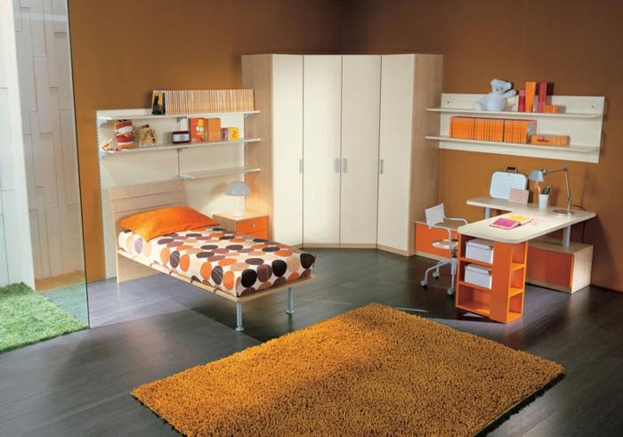 Jügenzimmer-für-Mädchen-orange-weich-teppich