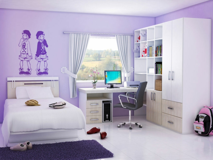 Jügenzimmer-für-Mädchen-weiß-hellbraun-Deko