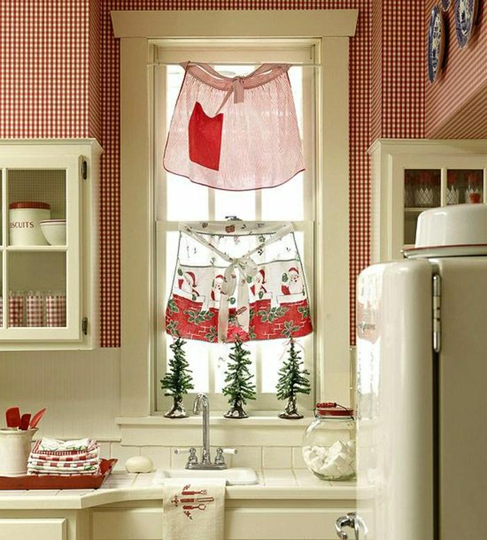 Landhausstil Weihnachtsdekoration Kleine Fenster Schu00fcrzen Gardinen