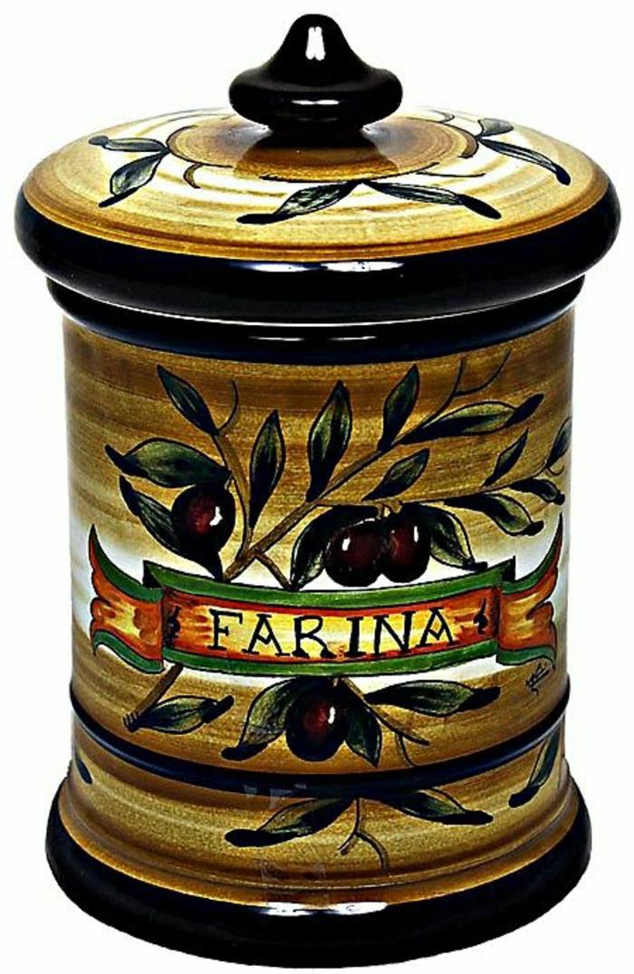 Keramik-Töpferei-Majolika-Mehl-braune-Oliven-Glas-italienisch-handgemalt