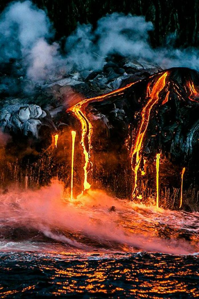 Kilauea-Vulkan-Hawaii-flüssige-Lava-fürchtende-Sicht