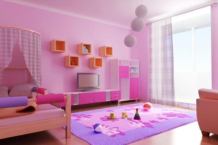 Kinderzimmer-Deko-Lila-teppich-rosa-Wände