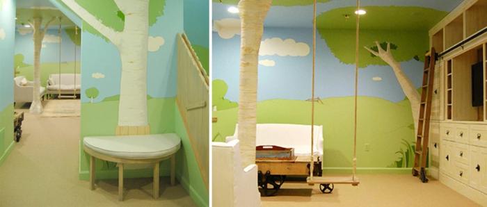 Kinderzimmer-Deko-gemaltete-Wände-und-Schaukel
