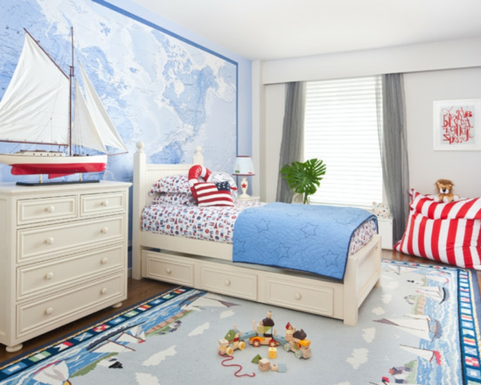 kinderzimmer blau weiss rot bibkunstschuur. Black Bedroom Furniture Sets. Home Design Ideas
