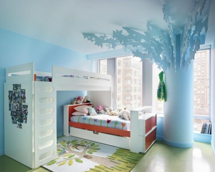 Kinderzimmer-Deko-weißes-Doppelbett