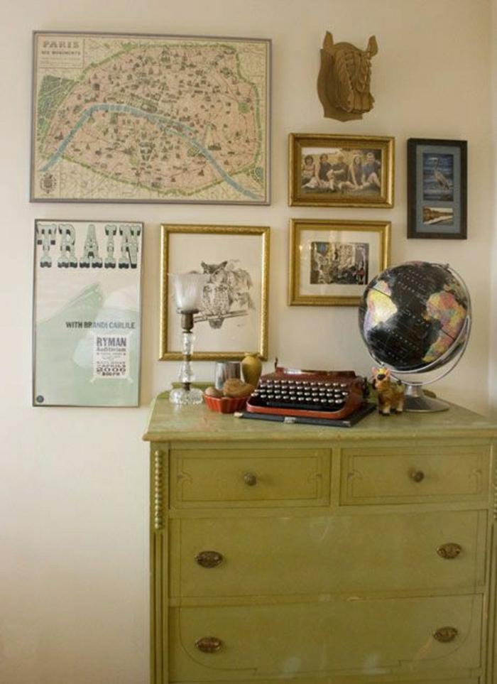 Kommode-Schreibmaschine-Globus-Bilder-vintage-Stil