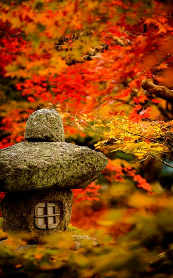 Kyoto-Japan-zen-garten-Blätter-Steinlaterne