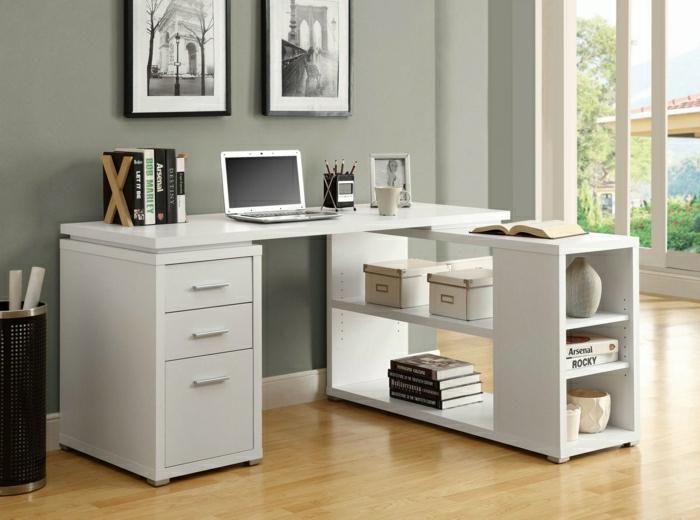 L-förmiger-Schreibtisch-mit-Regal-weiß-Laptop-Bücher-Eimer-Schubladen