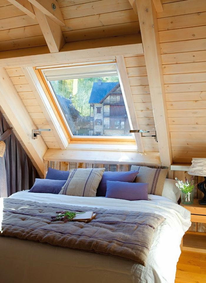 Landhaus-einruchtung-Bett-hölzern
