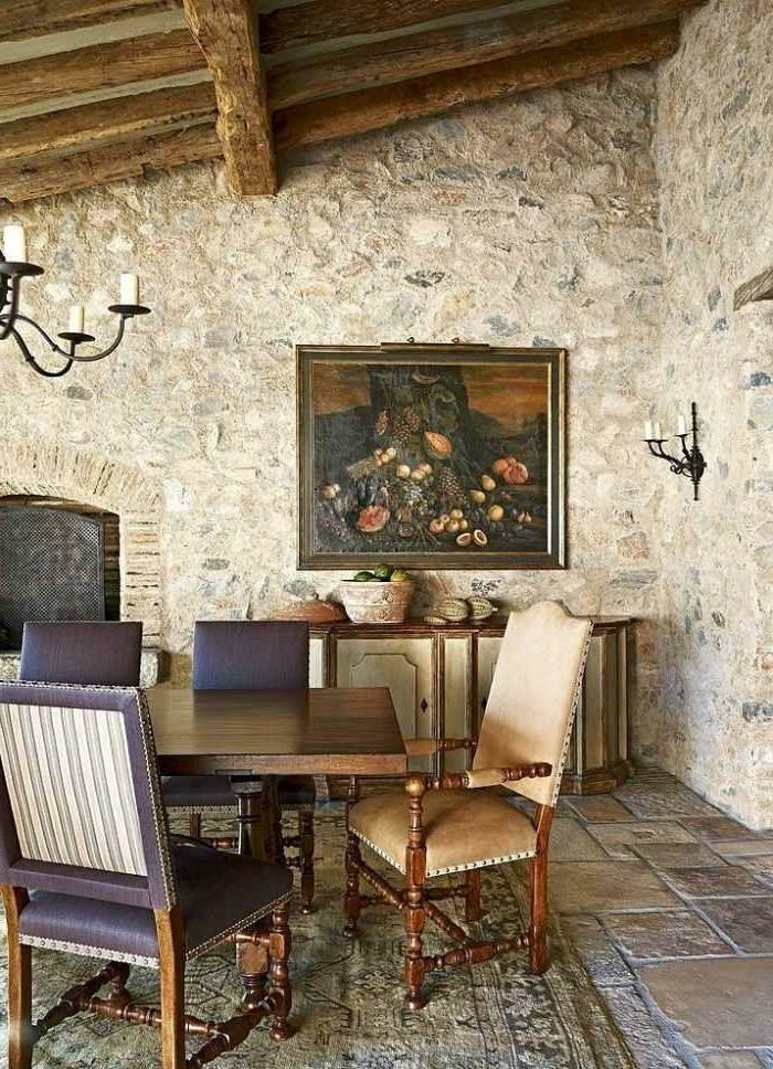 wohnzimmer wand steine:wohnzimmer wand : Landhaus Einrichtung für das Essraum steine
