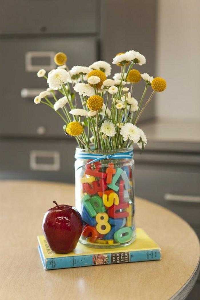 Lehrer-Geschenk-Idee-Glas-Plastik-Buchstaben-Ziffern-Blumen-Buch-Apfel