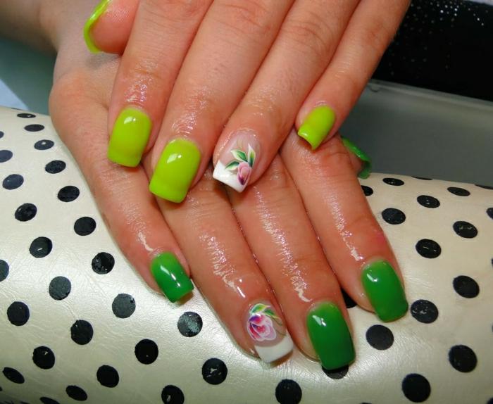 Nägel-Thermo-Effekt-Nagellack-zwei-Neon-Farben-Blumen-Dekoration
