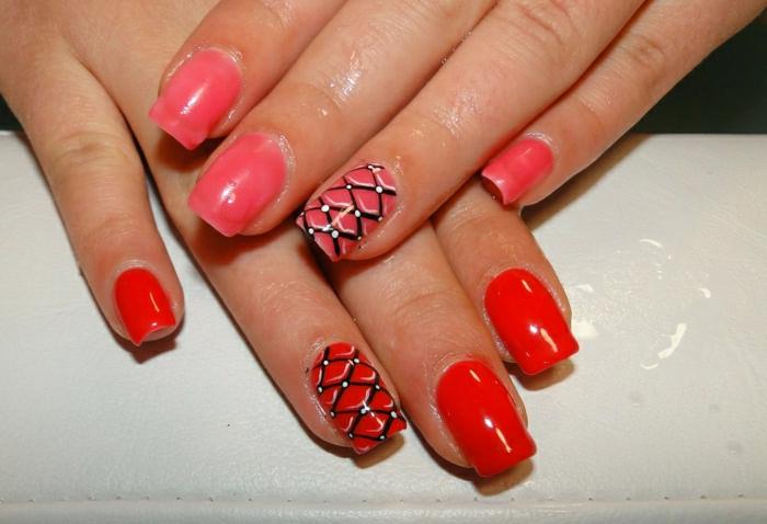 Nägel-zwei-Farben-wechselnd-Thermo-Effekt-tomatenrot-rosa-Dekoration