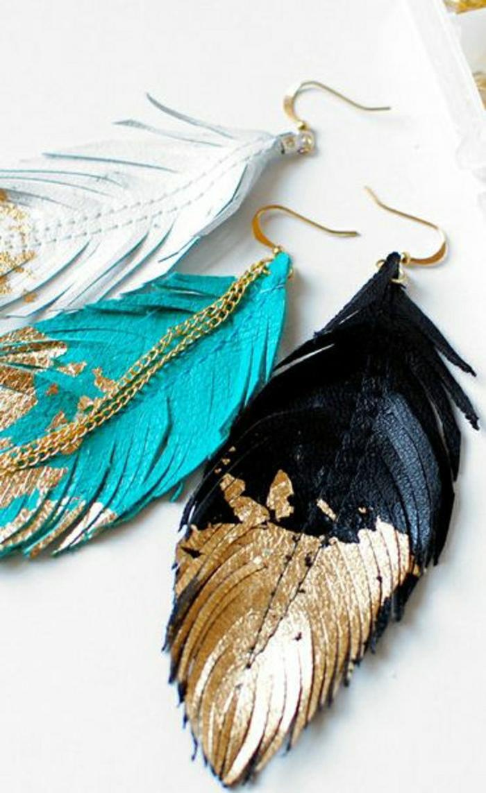 Ohrringe-Federn-verschiedene-Farben-goldener-Teil