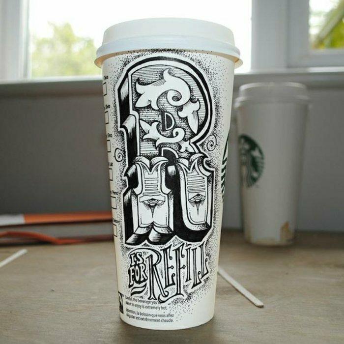 Papierbecher-Starbucks-graphisches-Design