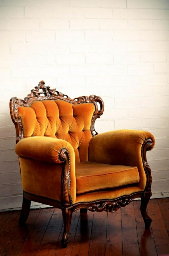 Plüsch-Sessel-Barock-orange-aristokratisch