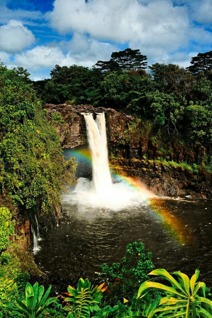 Regenbogen-Wasserfall-Hilo-Hawaii-großartige-Natur-exotische-Ansicht
