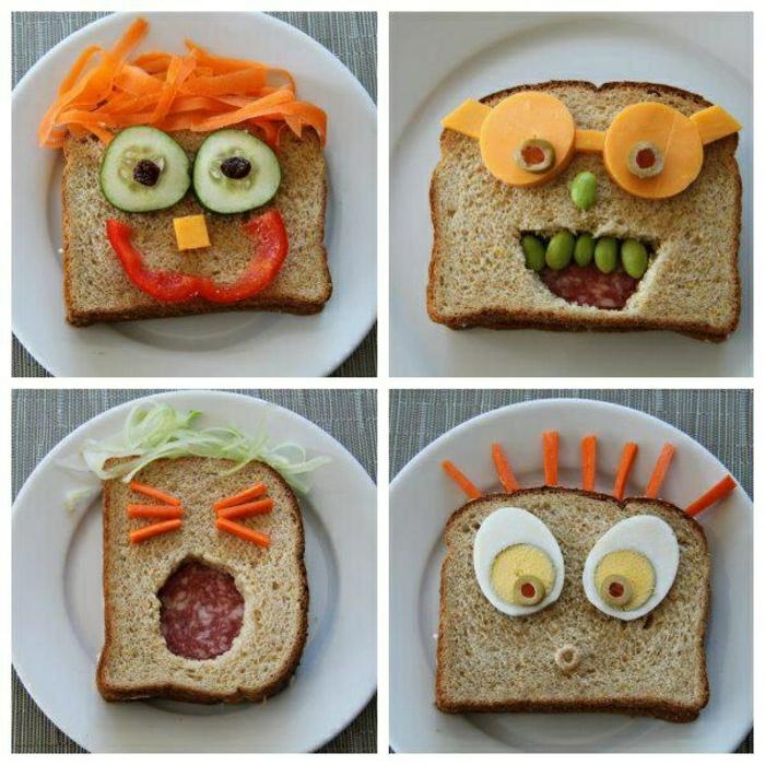 Sandwiches-lustige-Gesichter-Kindergeburtstagsparty