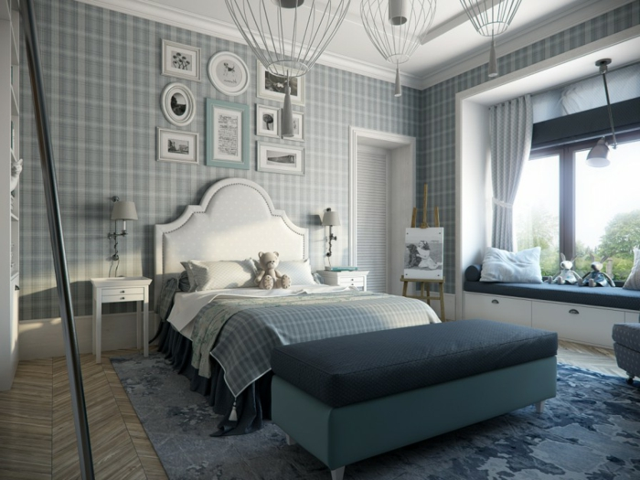 Schlafimmer-Tapeten-blau-weiß-Quadrat