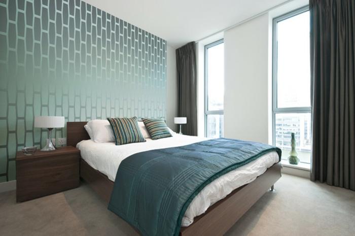 Schlafimmer-Tapeten-glänzend-grün-Vielecken